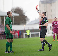 Stirling University captian Kyle Faulds is red carded by referee Graham Beaston shortly before half time  - Arbroath v Stirling University FC, William Hill Scottish Cup Second Round at Gayfield, Arbroath. Photo: David Young<br /> <br />  - &copy; David Young - www.davidyoungphoto.co.uk - email: davidyoungphoto@gmail.com