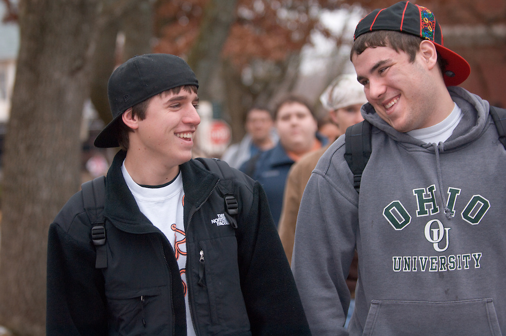 18532Students walking on campus in winter...Chris White and Ian Swoboda