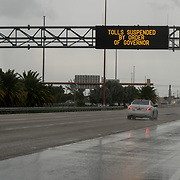 SEPTEMBER 9, 2017--MIAMI--FLORIDA<br /> Electronic signs advising drivers tolls are not being collected along the Dolphin Expressway.<br /> (Photo by Angel Valentin)