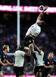 Leone Nakarawa of Fiji rises high to win lineout ball - Mandatory byline: Patrick Khachfe/JMP - 07966 386802 - 19/11/2016 - RUGBY UNION - Twickenham Stadium - London, England - England v Fiji - Old Mutual Wealth Series.