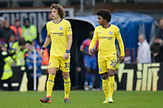 Chelsea defender David Luiz (30) and Chelsea midfielder Willian (22) walk back on the pitch for the second half during the Premier League match between Crystal Palace and Chelsea at Selhurst Park, London, England on 30 December 2018.