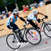 London, UK - 24 August 2012: players during the Hell's Belles Vol 2, Ladies Bike Polo Tournament in Bethnal Green Gardens.
