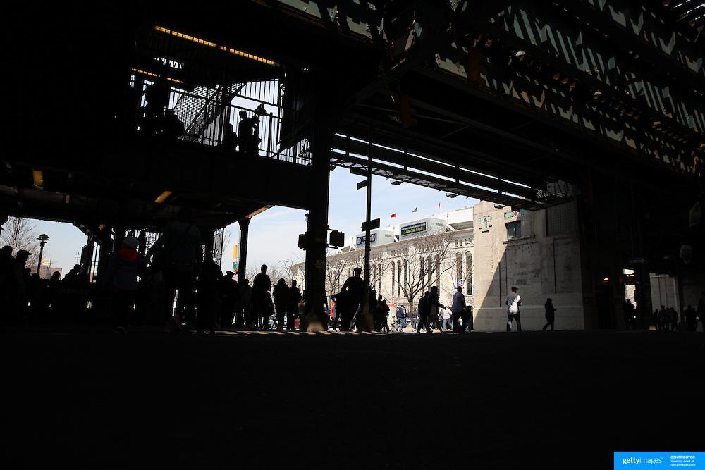 Fans arrive at Yankee Stadium before the New York Yankees Vs Toronto Blue Jays season opening day at Yankee Stadium, The Bronx, New York. 6th April 2015. Photo Tim Clayton