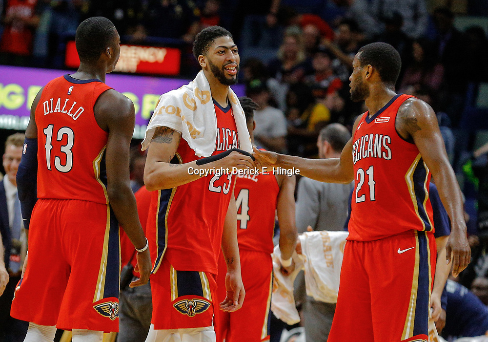 Feb 14, 2018; New Orleans, LA, USA; New Orleans Pelicans forward Anthony Davis (23) celebrates with forward Darius Miller (21) and forward Cheick Diallo (13) during the second half at the Smoothie King Center. The Pelicans defeated the Lakers 139-117. Mandatory Credit: Derick E. Hingle-USA TODAY Sports