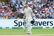 Steve Smith of Australia winces after being hit on the helmet by a Ben Stokes of England bouncer during the International Test Match 2019 match between England and Australia at Edgbaston, Birmingham, United Kingdom on 3 August 2019.