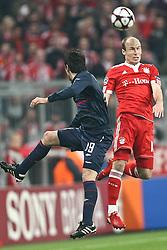 21-04-2010 VOETBAL: BAYERN MUNCHEN - OLYMPIQUE LYON: MUNCHEN<br /> Halve finale Champions League / Arjen Robben en Cesar Delgado <br /> ©2010-FRH-nph / Straubmeier