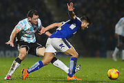 Shrewsbury Town FC forward Scott Vernon and Chesterfield FC midfielder Sam Morsy challenge for the ball during the Sky Bet League 1 match between Chesterfield and Shrewsbury Town at the Proact stadium, Chesterfield, England on 2 January 2016. Photo by Aaron Lupton.