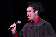 Jeremy Aldridge sings during the 102nd commencement of West Carrollton High School at the Schuster Center in downtown Dayton, Thursday, May 24, 2012.  This is the 50th anniversary of the year the selection of speakers for (and other parts of) the commencement has been done by the students.