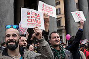 Manifestazione a sostegno del ddl Corinna' per il riconoscimento delle unioni civili, Roma 23 Gennaio 2016. Christian Mantuano / OneShot<br />