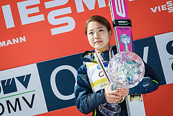 Overall World Cup winner Sara Takanashi (JPN) celebrates with a globe during final trophy ceremony after the Ski Flying Hill Team Competition at Day 4 of FIS Ski Jumping World Cup Final 2016, on March 20, 2016 in Planica, Slovenia. Photo by Ziga Zupan / Sportida