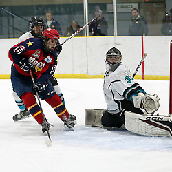 WELLINGTON, ON - OCTOBER 21: Tyson Gilmour #19 of the Wellington Dukes drives to the net on October 21, 2018 at Wellington and District Community Centre in Wellington, Ontario, Canada.<br /> (Photo by Ed McPherson / OJHL Images)