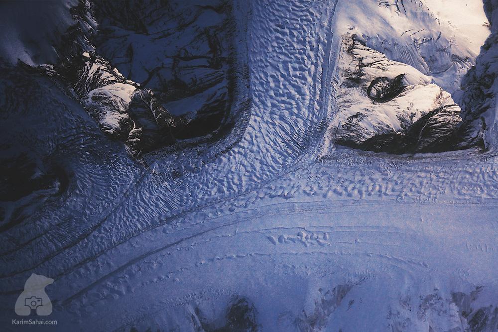 Aerial view of an ice stream in the Tian Shan mountain range, Xinjiang autonomous region, China.