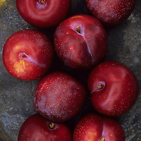 Smooth red Larry Ann plums lying on tarnished metal plate