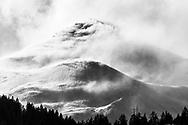 Heavy foehn storm with amazing snow drift at the Piz Mez, Parc Ela, Switzerland