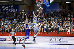 05.06.2017, Walfersamhalle, Kapfenberg, AUT, ABL Finale, ece Bulls Kapfenberg vs Redwell Gunners Oberwart, 4. Spiel, im Bild Sebastian Käferle (Redwell Gunners Oberwart) und Bogic Vujosevic (ece bulls Kapfenberg)N // during the Austrian Basketball League final round 4th match between ece Bulls Kapfenberg and Redwell Gunners Oberwart at the Walfersam Sportscenter, Kapfenberg, Austria on 2017/06/05, EXPA Pictures © 2017, PhotoCredit: EXPA/ Erwin Scheriau