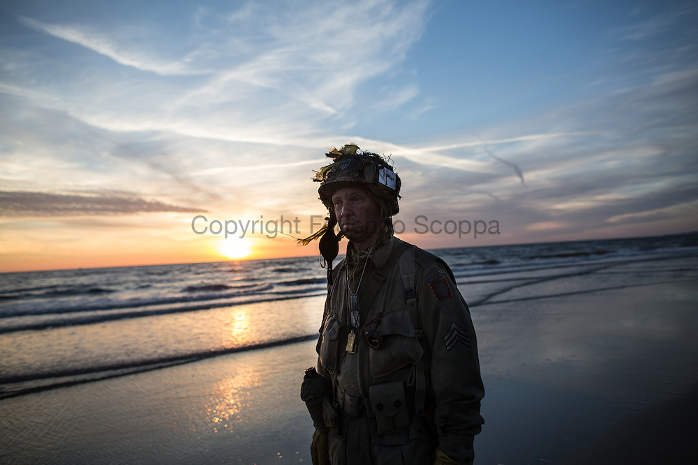 Reenactor on Omaha beach in the early morning of the 6th of June, exactly 70 year later the D-Day