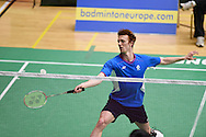 Kieran MERRILEES	of Scotland in action during his match against Tzu Wei WANG. Wales international badminton championships 2014 at the Welsh institute of Sport, Sophia Gardens in Cardiff, South Wales on Friday 28th November 2014<br /> pic by Andrew Orchard, Andrew Orchard sports photography.