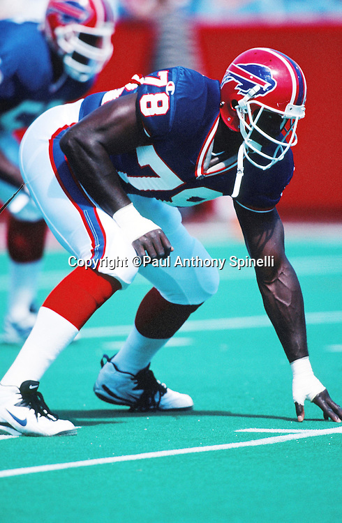 Buffalo Bills  defensive end Bruce Smith (78) gets set for the snap during the NFL football game against the Carolina Panthers on Sept. 10, 1995 in Orchard Park, N.Y. The Bills won the game 31-9. (©Paul Anthony Spinelli)