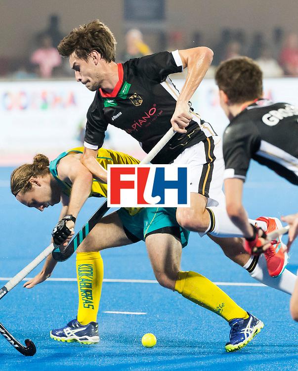 BHUBANESWAR - The Odisha Men's Hockey World League Final . Match ID 05 . Germany  v Australia . Florian Fuchs (Ger) with Jake Harvie (Aus) .  WORLDSPORTPICS COPYRIGHT  KOEN SUYK