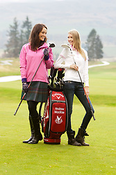 Miss Scotland Jennifer Reochs with Miss USA Erin CUMMINS..The Miss World participants play golf at the world famous Gleneagles Hotel, host of The Ryder Cup 2014..MISS WORLD 2011 VISITS SCOTLAND..Pic © Michael Schofield.