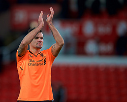 STOKE-ON-TRENT, ENGLAND - Wednesday, November 29, 2017: Liverpool's Dejan Lovren applauds the travelling supporters after the FA Premier League match between Stoke City and Liverpool at the  Bet365 Stadium. (Pic by David Rawcliffe/Propaganda)