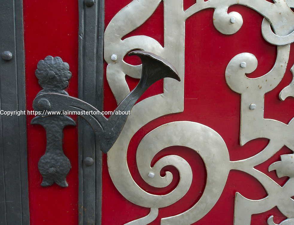 Detail of ornate door and handle in Nove Mesto in Prague in Czech Republic