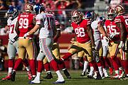 San Francisco 49ers defensive end Ronald Blair (98) celebrates a defensive stop against the New York Giants at Levi's Stadium in Santa Clara, Calif., on November 12, 2017. (Stan Olszewski/Special to S.F. Examiner)