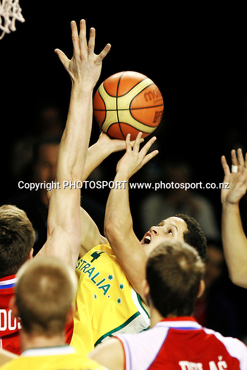 Australia's Jorden Page puts up a shot. U19 Basketball World Championship, 3rd and 4th place game, Australia v Croatia, North Shore Events Centre, Auckland. 12 July 2009. Photo: Anthony Au-Yeung/PHOTOSPORT
