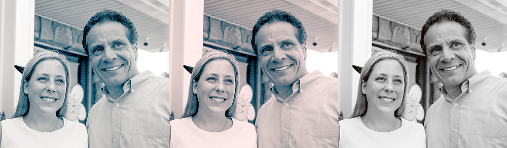 [Photo Composite Illustration] Massapequa, New York, USA. August 5, 2018. L-R, LIUBA GRECHEN SHIRLEY, Democrat running for Congress for New York 2nd District, and Governor ANDREW CUOMO, at capaign event after Cuomo endorsed Grechen Shirley.