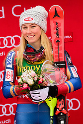 January 7, 2018 - Kranjska Gora, Gorenjska, Slovenia - Mikaela Shiffrin of United States of America on podium celebrating her victory at the Slalom race at the 54th Golden Fox FIS World Cup in Kranjska Gora, Slovenia on January 7, 2018. (Credit Image: © Rok Rakun/Pacific Press via ZUMA Wire)