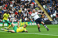Preston - Saturday September 18th, 2010: Simon Lappin of Norwich and Wayne Brown of Preston in action during the Npower Championship match at Deepdale, Preston. (Pic by Paul Chesterton/Focus Images)