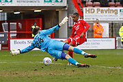 Crawley Town defender Lewis Young (2) scores a goal (score 3-5) during the EFL Sky Bet League 2 match between Crawley Town and Cheltenham Town at the Checkatrade.com Stadium, Crawley, England on 24 March 2018. Picture by Andy Walter.