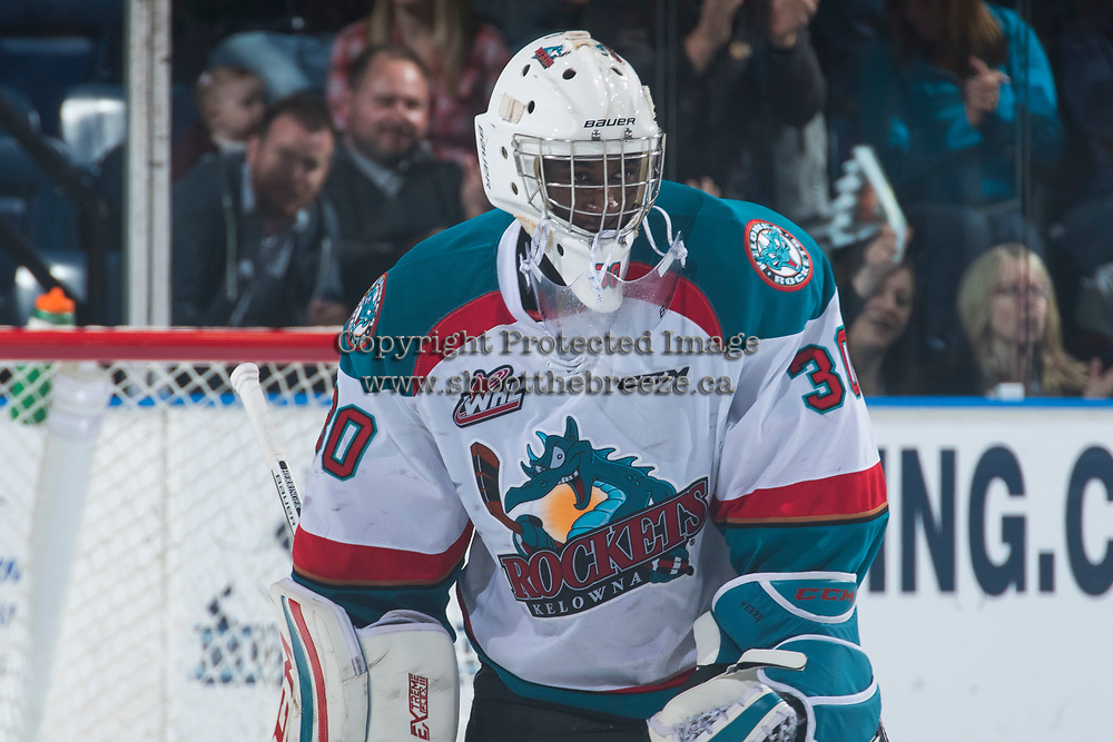 KELOWNA, CANADA - MARCH 25:Michael Herringer #30 of the Kelowna Rockets skates to the bench during a time out against the Kamloops Blazers on March 25, 2017 at Prospera Place in Kelowna, British Columbia, Canada.  (Photo by Marissa Baecker/Shoot the Breeze)  *** Local Caption ***