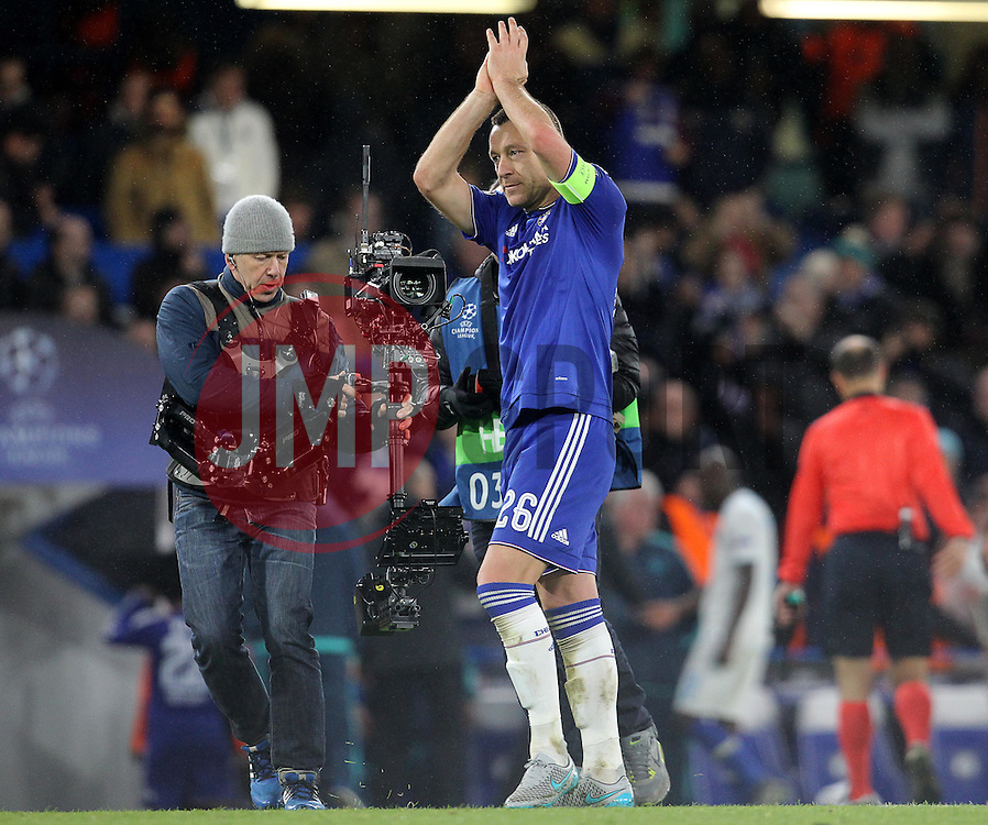 John Terry of Chelsea celebrates after his team win the match - Mandatory byline: Paul Terry/JMP - 09/12/2015 - Football - Stamford Bridge - London, England - Chelsea v FC Porto - Champions League - Group G