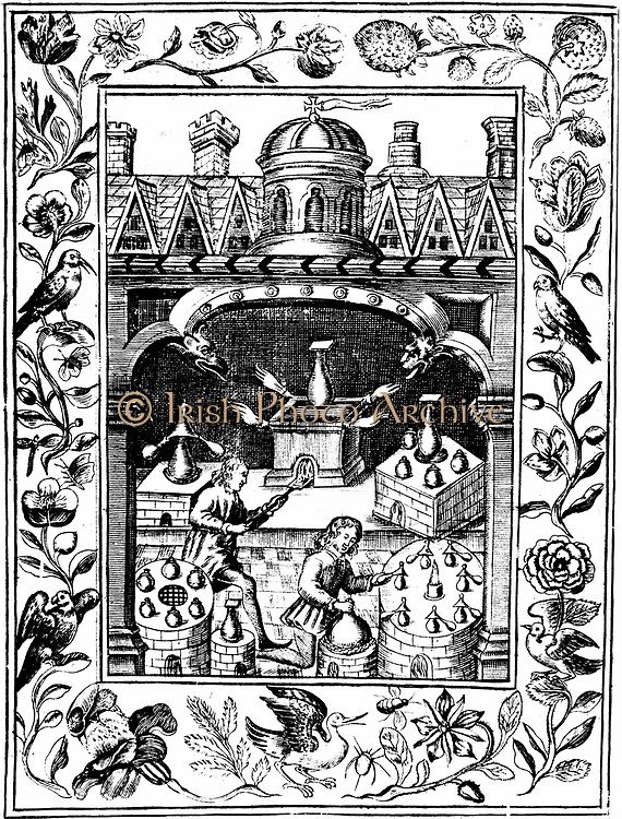 Alchemical laboratory showing various forms of furnace and vessels.  From Elias Ashmole 'Theatrum Chemicum Britannicum' London 1652.