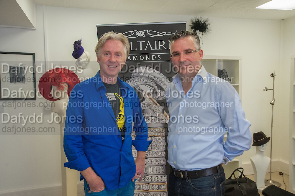 PHILIP TREACY; SEAMUS FAHY, Philip Treacy to create Bespoke Voltaire Daimonds ring collection. Philip Treacy showroom. London. 19 July 2012.