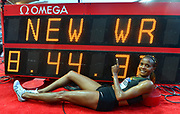Beatrice Chepkoech (KEN) poses with the scoreboard after winning the women's steeplechasse in a world record 8:44.32 during the Herculis Monaco in an IAAF Diamond League meet at Stade Louis II stadium in Fontvieille, Monaco on Friday, July 20, 2019. (Jiro Mochizuki/Image of Sport)