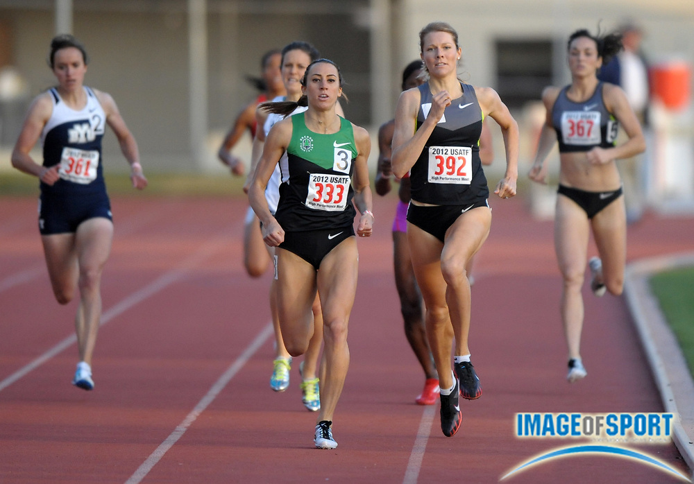 May 18, 2012; Los Angeles, CA, USA; Geena Gall (333) defeats Alice Schmidt (392) to win the womens 800m, 2:00.44 to 2:00.79, in the 2012 USATF High Performance meet at Occidental College.