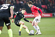 Salford City midfielder Danny Whitehead tackles the opponent during the EFL Sky Bet League 2 match between Salford City and Macclesfield Town at the Peninsula Stadium, Salford, United Kingdom on 23 November 2019.