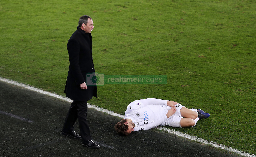 Swansea City's manager Paul Clement and Fernando Llorente
