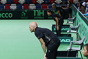 The Davis Cup (Tennis world cup) Israel Vs Slovenia umpires viewing the lines