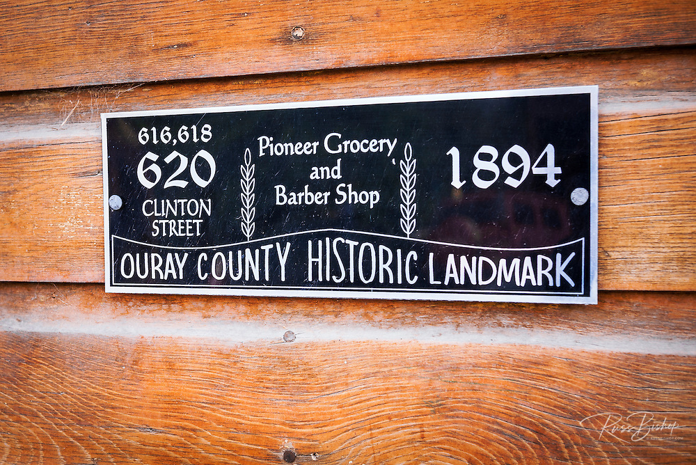 Historic Pioneer Grocery and Barber Shop plaque, Ridgway, Colorado USA