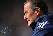 26.08.2012, Fussball 1.Bundesliga 2012/2013, 1.Spieltag,  Hannover 96 - FC Schalke 04 , in der AWD-Arena Hannover. Trainer Huub Stevens (Schalke) spits during the game.