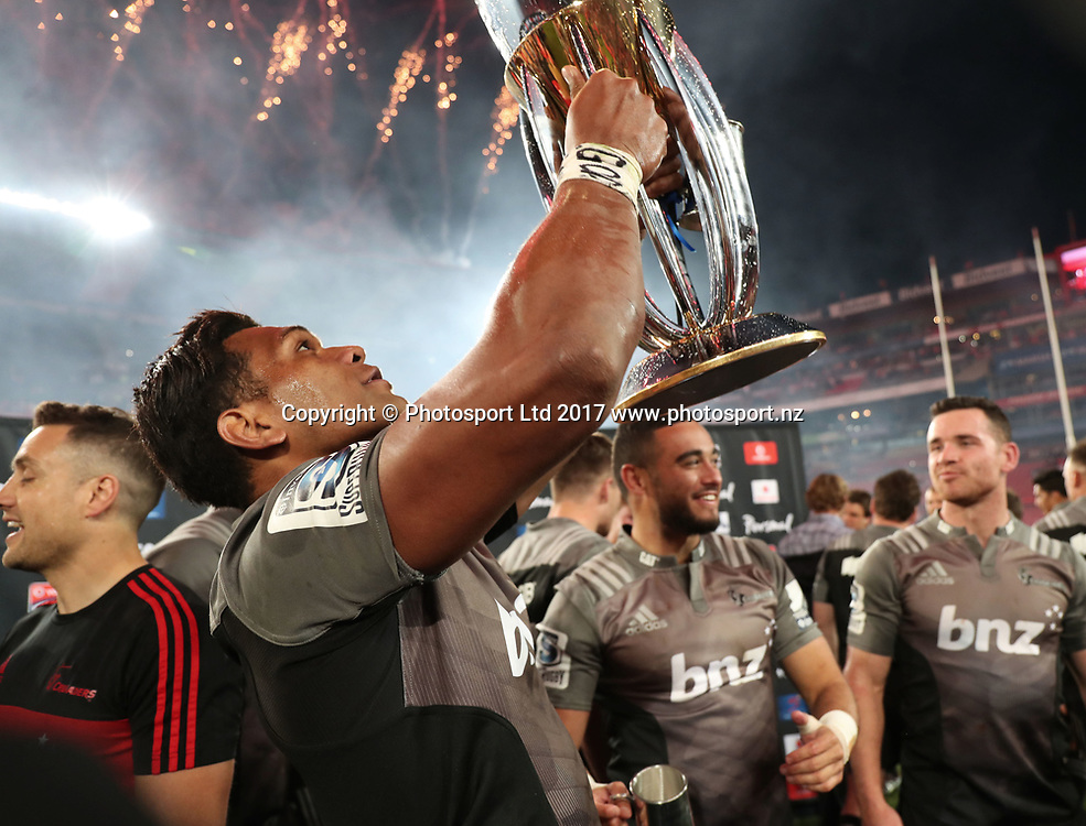 Seta Tamanivalu of the Crusaders celebrates after winning the 2017 Super Rugby Final against the Lions at Ellis Park, Johannesburg on 05 August 2017 ©Gavin Barker/BackpagePix / www.photosport.nz