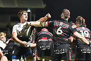 Johan Meyer and Magnus Bradbury diagree during the Guinness Pro 14 2017_18 match between Edinburgh Rugby and Zebre at Myreside Stadium, Edinburgh, Scotland on 6 October 2017. Photo by Kevin Murray.