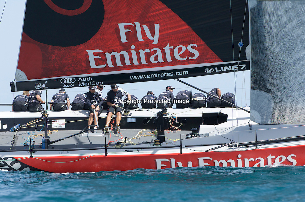 Emirates Team New Zealand NZL380 on the first beat of race five, day two, Sardinia Trophy, Audi MedCup, Italy, 22 July 2009. Photo: Chris Cameron/PHOTOSPORT *** Local Caption ***