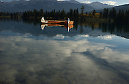 Photo: Randy Vanderveen,.Jasper, Alberta.Canoes on Lake Beauvert in Jasper National Park.