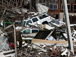 August 27, 2017 - Rockport, Texas, U.S. - Cars are buried in debris Sunday, at the Fulton County Airport from a collapsed building cause by Hurricane Harvey. Rockport saw a direct hit Friday night from the Category 4 storm. (Credit Image: © San Antonio Express-News via ZUMA Wire)