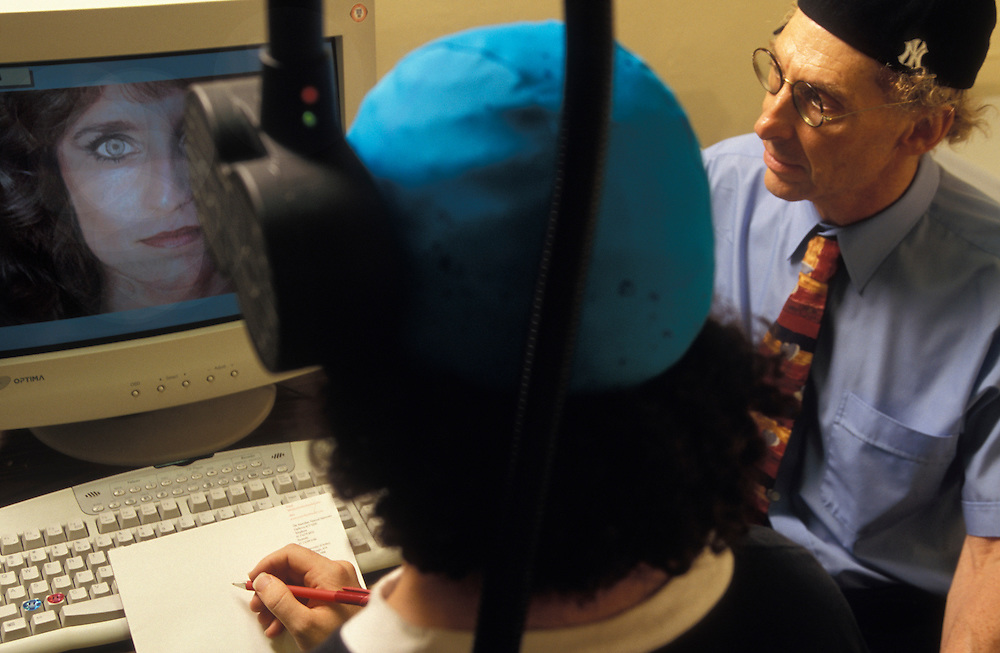 """Professor Alan Snyder of The Centre for the Mind at Sydney University with his """"think cap"""". ..Sydney, March 2003"""