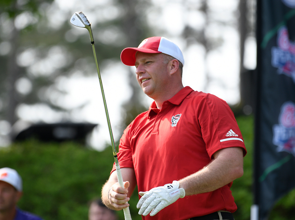 North Carolina State head football coach Dave Doeren during the Chick-fil-A Peach Bowl Challenge Closest to the Pin Skills Competition at the Ritz Carlton Reynolds, Lake Oconee, on Monday, April 29, 2019, in Greensboro, GA. (Dale Zanine via Abell Images for Chick-fil-A Peach Bowl Challenge)